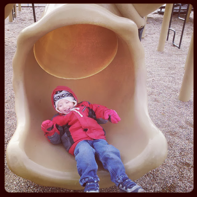A day at the park he goes down the slide in his red jacket with moms bookshelf and more