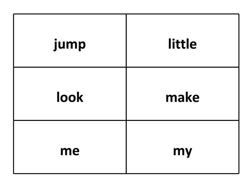 sight word flash cards jump look me little make my