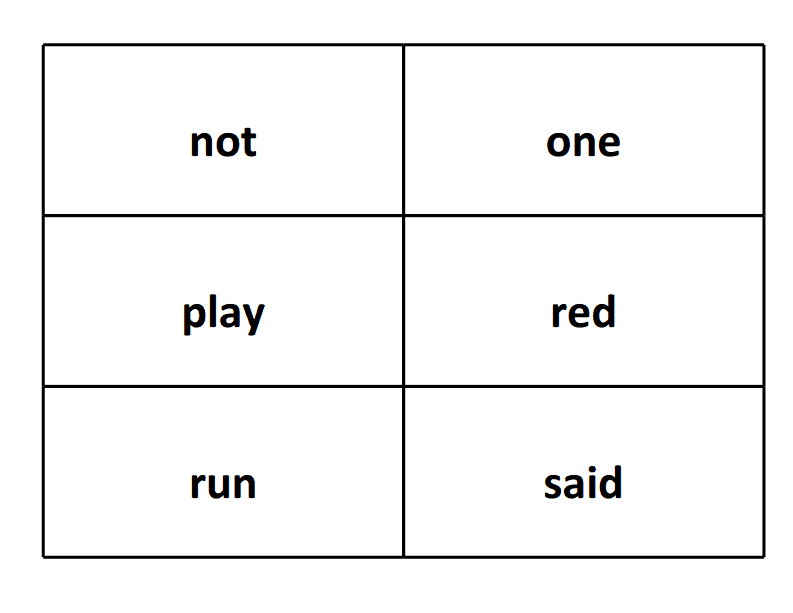 sight word flash card not play run one red said