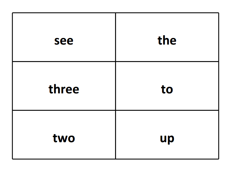 sight word flash card see three two the to up
