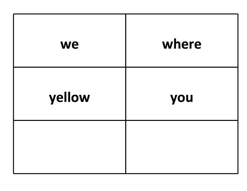 sight word flash cards we where yellow you