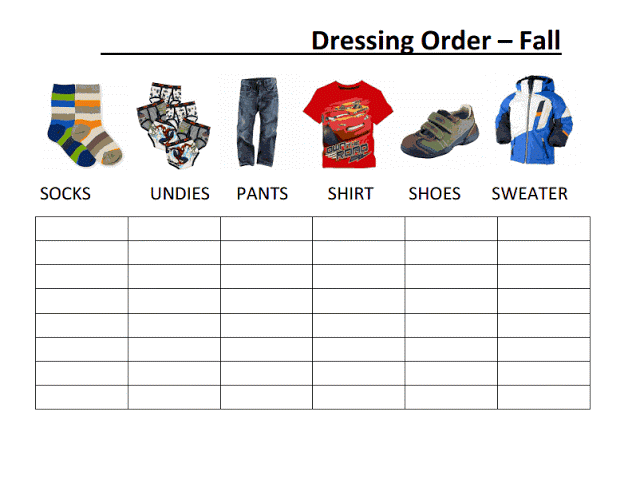 Dressing, Getting Dressed, Clothing Order