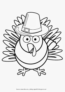Turkey wearing Pilgrim Hat Thanksgiving Day Printable Coloring Page