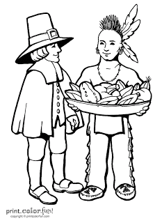 Free Pilgrim and Indian Thanksgiving Day Printable Coloring Pages
