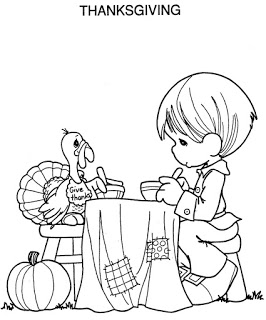 Thanksgiving Day Dinner with Precious Moments and Turkey Coloring Page