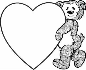 Teddy Bear with heart Valentines Day Coloring Page Printable