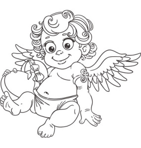Cupid with chocolate candy hearts Valentines Day Coloring Page Printable