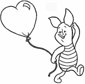 Disney Piglet with balloon heart Valentines Day Coloring Page Printable