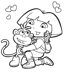 Dora and Boots Valentines Day Coloring Page Printable