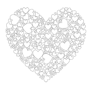 Heart Shaped Cluster Of Hearts Valentines Day Coloring Page Printable