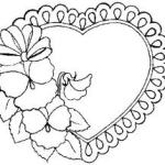 Doiley heart with flowers Valentines Day Coloring Page Printable