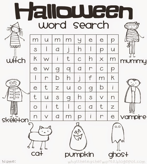 easy halloween word search